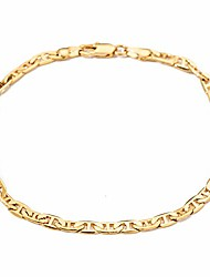 "cheap -18k gold plated flat mariner link chain anklet 4.2mm wide 9 10 11 inches ankle bracelet for women teen girls (10"")"