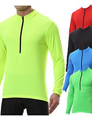 cheap -Men's Long Sleeve Cycling Jersey with 3 Rear Pockets Polyester Black Blue Mint Green Bike Sweatshirt Jersey Top Mountain MTB Road Bike Multi-Pockets Quick Dry Sports Clothing Biking Shirt