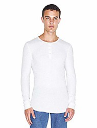 cheap -men's baby thermal long sleeve henley, white, 2x-large
