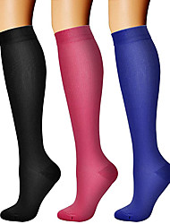 cheap -Compression Socks Athletic Sports Socks 3 Pairs Long Women's Men's Tube Socks Breathable Sweat wicking Comfortable Gym Workout Running Skateboarding Cycling Sports Solid Colored Nylon White Black