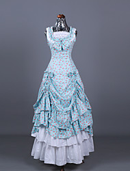cheap -Cosplay Lolita Victorian 18th Century Vacation Dress Dress Outfits Masquerade Prom Dress Women's Costume Blue / White Vintage Cosplay Sleeveless Ball Gown Plus Size Customized