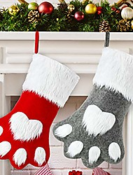 cheap -2 pieces christmas pet stocking dog stocking personalized pet stocking for christmas fireplace tree decorations & #40;gray red dog paw& #41;