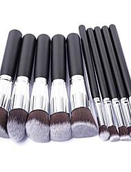 cheap -professional 10 piece makeup brush set (silver black)