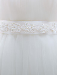 cheap -Silk Like Satin Wedding Sash With Faux Pearl Women's Sashes