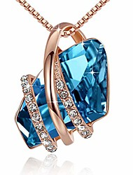 cheap -women's wish stone 18k rose gold plated crystal pendant necklace zircon blue december birthstone