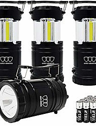 cheap -4 pack portable led camping lantern flashlight with magnetic base - emits 500 lumens - survival kit for emergency, hurricane, power outage with 12 aa batteries (black)