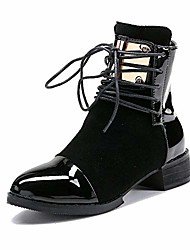 cheap -round toe women winter platform boots low heels motorcycle boots ankle lace up patchwork bootie gc213-2-black-40(40/us8)