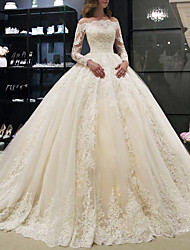 cheap -A-Line Wedding Dresses Off Shoulder Court Train Lace Long Sleeve Illusion Sleeve with Crystals 2021