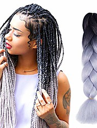 cheap -ombre braiding hair black gray kanekalon ombre synthetic hair extensions hair for for twist braiding hair … (5pcs, black/gray)