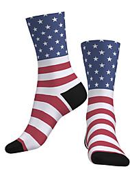 cheap -Crew Socks Compression Socks Calf Socks Athletic Sports Socks Cycling Socks Women's Men's Bike / Cycling Breathable Soft Comfortable 1 Pair National Flag Cotton Blue S M L / Stretchy