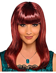 cheap -Cosplay Wig Classic Beauty Auburn Straight Neat Bang Wig Long Burgundy Synthetic Hair Women's Anime Cosplay Exquisite Burgundy