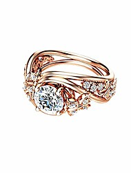 cheap -fashion rings, elegant hollow rhinestones butterfly flower jewelry women engagement bridal ring - rose gold us 9