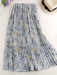 cheap -Women's Casual / Daily Basic Skirts Floral Pleated Blue Beige Gray / Loose