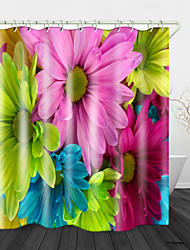 cheap -Bright Colorful flowersBeautiful Back Print Waterproof Fabric Shower Curtain for Bathroom Home Decor Covered Bathtub Curtains Liner Includes with Hooks