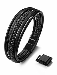 cheap -9.00″ black leather bracelets for men - mens bracelets cowhide gift-box braided bracelet stainless steel jewelry wrist-band cuff wrap rope bangle dad man boy pulseras para hombres cuero regalo