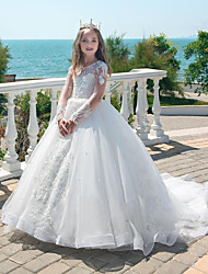 cheap -Princess / Ball Gown Court Train Party / Wedding Flower Girl Dresses - Lace Long Sleeve Jewel Neck with Lace / Pleats / Appliques