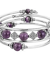 cheap -beaded bangle wrap amethyst bracelet - fashion bohemian jewelry multilayer charm bracelet with thick silver metal beads for women girls gifts (purple)