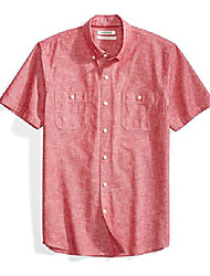 cheap -amazon brand - men's short-sleeve chambray shirt, red, small