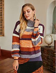 cheap -Women's Basic Knitted Striped Pullover Acrylic Fibers Long Sleeve Loose Sweater Cardigans Turtleneck Fall Winter Rainbow