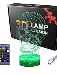 cheap -Skull 3D Lamp Optical Illusion Night Light Death Model Birthday Gift Idea for Fan Xmas Valentine's Day Gift Kids Boy Room Night Light with Remote Control 16 Colors Changing