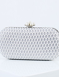 cheap -Women's Bags Polyester Alloy Evening Bag Glitter Pearls Geometric Pattern Handbags Wedding Event / Party Black Silver