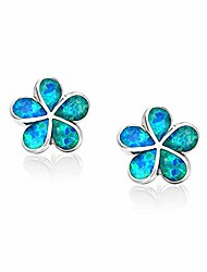 cheap -flower stud earrings,blue opal stud earrings 14k white gold plated hypoallergenic flower earrings jewelry gift for mom,girls,women
