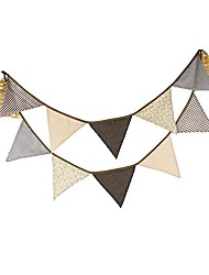 cheap -3.2m/10.5ft country floral fabric flags bunting banner garlands for wedding, birthday party, outdoor & home decoration (coffee)