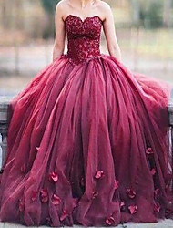 cheap -Ball Gown Floral Luxurious Quinceanera Formal Evening Dress Strapless Sleeveless Sweep / Brush Train Tulle with Pleats 2020