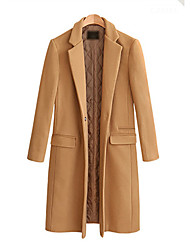 cheap -Women's Coat Solid Colored Basic Fall & Winter Regular Daily Long Sleeve Wool Coat Tops Red