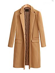 cheap -Women's Solid Colored Basic Fall & Winter Coat Regular Daily Long Sleeve Wool Coat Tops Black