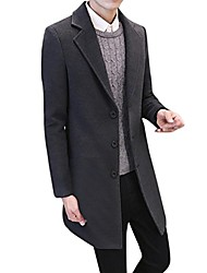 cheap -Men's Notch lapel collar Overcoat Solid Colored Cotton Navy ArmyGreen Black M L XL
