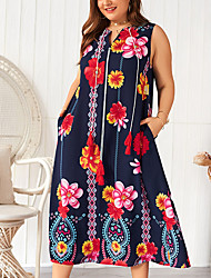 cheap -Women's Shift Dress Midi Dress - Sleeveless Floral Patchwork Print Summer V Neck Plus Size Casual Cotton Loose 2020 White Orange Royal Blue XL XXL 3XL 4XL