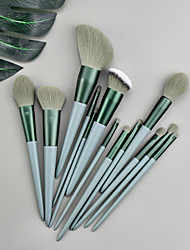 cheap -Makeup Brushes 13 Pcs Green Makeup Brush Set Premium Synthetic  Foundation Blending Face Powder Mineral Eyeshadow Make Up Brushes Set