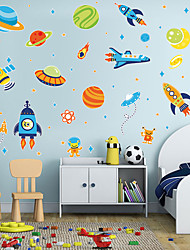 cheap -New Cartoon Stickers Space Star Rocket Self Adhesive Wall Stickers Creative Children's Room Wall Decoration