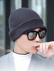 cheap -Men's Women's Hiking Hat Beanie Hat 2pcs Winter Outdoor Portable Breathable Warm Ultra Light (UL) Skull Cap Beanie Solid Color Cotton Light Yellow Dark Grey White for Fishing Climbing Camping