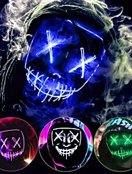 cheap -Halloween Mask Scary LED Costume Glowing Mask EL Wire Light Up Mask Party Accessories for Halloween Fashion Festival Cosplay Party Holidays Drag King Queen