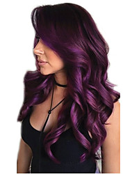 cheap -Synthetic Wig Curly Deep Wave Asymmetrical With Bangs Wig Long Black / Purple Synthetic Hair 26 inch Women's Fashionable Design Cool Fluffy Purple