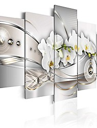cheap -giant vibrant flower canvas wall art pearl orchids print artwork modern decor 5 panels painting white floral hd picture bedroom framed ready to hang 80x40
