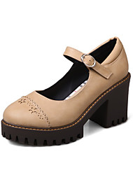 cheap -Women's Heels Chunky Heel Round Toe Casual Preppy Daily Buckle Solid Colored PU Walking Shoes Almond / Black / Gray