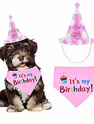 cheap -dog birthday bandana & hat, dog birthday bandana scarf with cute doggie birthday party hat, great party supplies for dogs, ideal gift for girl dogs