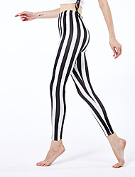 cheap -Women's Sporty Yoga Comfort Skinny Daily Leggings Pants Striped Ankle-Length High Waist Black