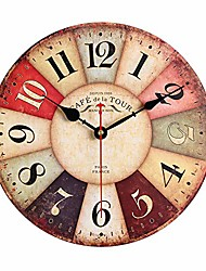 cheap -decorative wall clock, non-ticking silent digital clock with vintage style, 12 inch