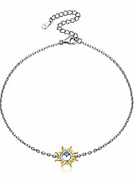 cheap -women sun anklets 925 sterling silver ankle bracelet for women girls simple dainty blue cubic zirconia ankle chain summer party beach jewelry foot chain anklet adjustable