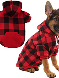 cheap -Dog Cat Sweater Hoodie Plaid / Check Classic Style Christmas Casual / Daily Winter Dog Clothes Puppy Clothes Dog Outfits Warm Blue Red Costume for Girl and Boy Dog Cotton S M L XL