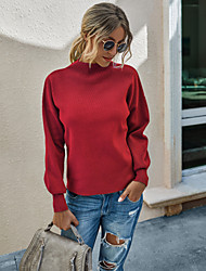 cheap -Women's Basic Knitted Solid Color Plain Pullover Acrylic Fibers Long Sleeve Loose Sweater Cardigans Crew Neck Round Neck Fall Winter Black Purple Red