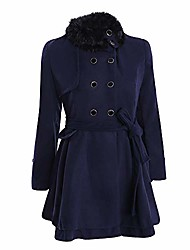 cheap -aihihe women's classic double breasted coat, faux fur lapel thick wool blend trench coat jacket winter warm parka