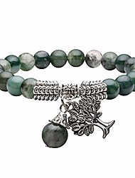 cheap -8mm natural moss agate gemstone tree of life lucky charm stretch bracelet