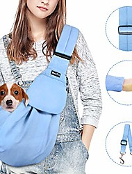 cheap -pet sling, hand free dog carrier adjustable padded strap tote bag breathable cotton shoulder bag front pocket safety belt carrying small dog cat puppy machine washable