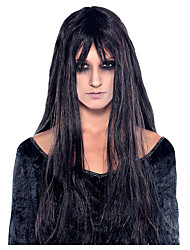cheap -Cosplay Wig Ghoulish Straight With Bangs Wig Long Black Synthetic Hair Women's Cosplay Exquisite Black