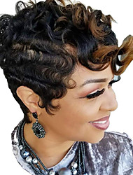 cheap -Synthetic Wig Afro Curly Pixie Cut Wig Short Black / Brown Synthetic Hair 6 inch Women's Fashionable Design Party Coloring Black